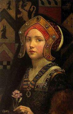 """Head of a Tudor Girl"", by Eleanor Fortescue-Brickdale (English, 1871-1945)"