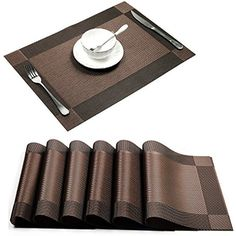 6 X Woven Vinyl Placemats Non Slip Washable Dinner Table Kitchen Home Decor Gift #UArtlines