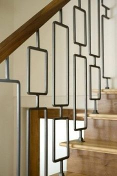 40 Awesome Modern Stairs Railing Design for Your Home - Rockindeco Modern Stair Railing, Wrought Iron Stair Railing, Stair Railing Design, Modern Stairs, Iron Staircase, Staircase Railings, Modern Room, Stairways, Indoor Railing