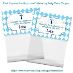Personalized First Holy Communion Baptism Christening Party Favors Hershey Kisses Label Stickers and Treat Bag Toppers Printable PDF Files