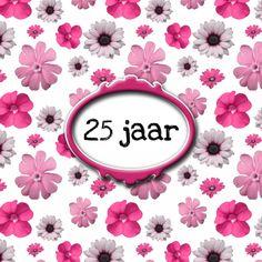 Roze bloemen  jubileum 25 jr, verkrijgbaar bij #kaartje2go voor €1,79