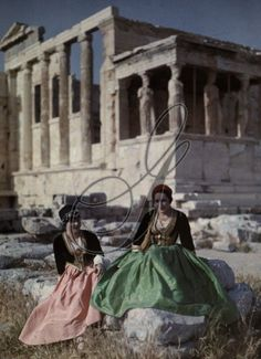 Women wear authentic garb from Crete (left) and Peloponnesus (right). Credit: National Geographic Stock: Vintage Collection / The Granger Collection, NYC — All rights reserved. Greece Pictures, Old Pictures, Old Photos, History Of Photography, Color Photography, Greek Traditional Dress, Traditional Clothes, Empire Ottoman, Greek History