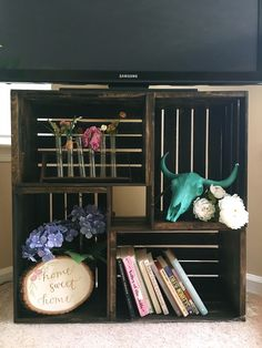 diy wooden crate tv stand shelf 280489883023224869 10 DIY TV Stands You Can Totally Build at Home Wooden Crates Tv Stand, Crate Tv Stand, Diy Wooden Crate, Diy Tv Stand, Wood Crates, Tv Stand Made From Crates, Diy With Crates, Living Room Hacks, Living Rooms