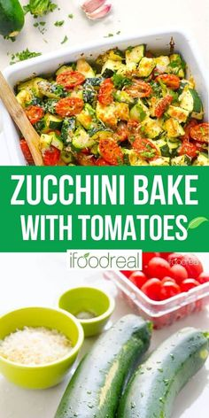 Healthy Zucchini Tomato Casserole with garlic, dried herbs and Parmesan with only 5 minutes of prep. Serve as a low carb side dish or add cooked chicken for a 30 minute dinner. Zucchini Dinner Recipes, Zucchini Side Dishes, Zuchinni Recipes, Healthy Zucchini, Low Carb Side Dishes, Low Carb Dinner Recipes, Healthy Side Dishes, Vegetable Side Dishes, Zucchini Parmesan