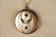 Black and White Antique Locket Necklace 1874 by Atrice Locket Necklace, Pendant Necklace, Antique Locket, Stone Pendants, Jewelry Box, Bling, Jewels, Lockets, Black And White