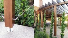I love this modern trellis system! It is made using a system by Jakob Stainless Ich liebe dieses mod Patio Trellis, Trellis Panels, Wood Trellis, Trellis Design, Diy Pergola, Curved Pergola, Pergola Swing, Modern Pergola, Metal Pergola