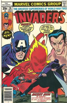 The Invaders #26 March 1977 Marvel Comics. Cover features young Bucky, alone, against the deadly Agent Axis!