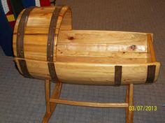 Handmade Barrel Baby Cradle. One of a kind $350
