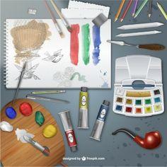 Realistic painter desk