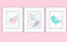 Baby Nursery Wall Art Pink Aqua Blue Birds My Baby Sam Pixie Nursery Decor Girls Room Art Bird Nursery Prints 3 PRINT SET