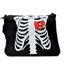 Skeleton Rib Cage Messenger Bag Gothic Punk Handbag ($23) ❤ liked on Polyvore featuring bags, goth bags, skeleton bag, gothic bags, courier bag and punk bags