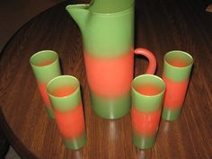 "WEST VIRGINIA GLASS CO.  ""BLENDO""  5-PIECE COOLER SET, GREEN AND ORANGE Glass Company, My Glass, Glass Shelves, Mid Century Design, Green And Orange, West Virginia, Vintage Kitchen, Kettle, Mid-century Modern"