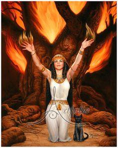 bast goddess pictures | Egyptian Cat Goddess Fine Art Print by Rowena Art