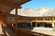 Wooden canapy and walkway at Druk White Lotus School, Ladakh.