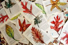 watercolor fall leaves from old book pages