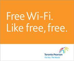 Enjoy free Wi-Fi at Toronto Pearson Airport (YYZ).