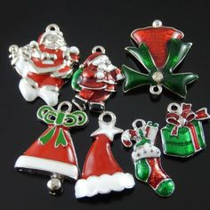 New Enamel Alloy Christmas Tree Jingle Bell Santa Claus Charms Pendant Findings