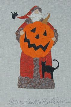 Curtis Boehringer Needlepoint Halloween Black Cat Santa