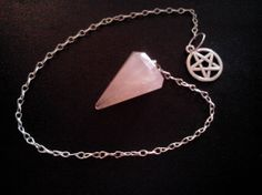 Rose Quartz with Pentacle or Tree Charm Pendulum for by JLynchS4E1, $10.00
