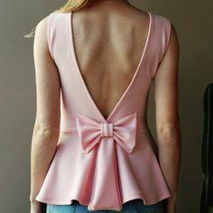Blusa rosa rosê decote costas, laço peplum www.horadediva.com.br/loja