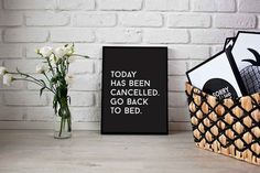 Ornaments – Funny Typography Print Today Has Been Cancelled – a unique product by LovelyDecor on DaWanda