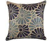 "Blue Flowers Pillow Cover, Burlap Accent Pillow, Floral Cushion, Decorative Throw Pillow, Jute, 16"""