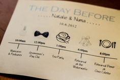fun schedule idea for out of town guests or wedding party; (photography by: Bartlett Pair Photography) #weddings
