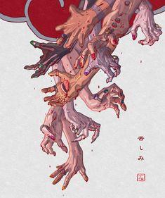 """苦しみ """"kurushimi- pain, anguish, suffering, hardship"""" Wanted to do some hands It's been awhile. So this time I did nicer ones! This was more anatomy practice! ref 1 ref 2 Anime Naruto, Naruto Fan Art, Naruto Cute, Manga Anime, Wallpaper Naruto Shippuden, Naruto Shippuden Sasuke, Naruto Wallpaper, Boruto, Itachi"""