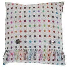 ACHICA | Bronte Multispot Merino Lambswool Cushion, Grey & Multi
