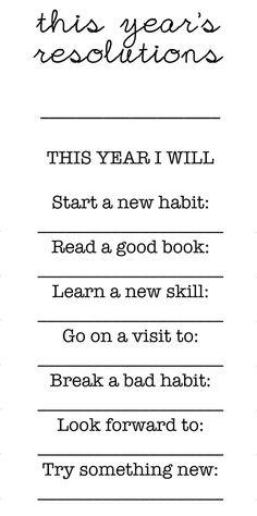 Free printables: new years resolutions for kids // Imprimibles gratis: propósitos de año nuevo para niños