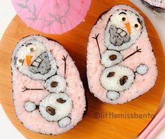 #Sushi de color rosa con muñecos de nieve