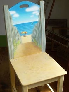 Beach Scene on Wood Chair LOVE this Directions on how to make it too. Beach Scene on Wood Chair LOVE this Directions on how to make it too. Hand Painted Chairs, Funky Painted Furniture, Paint Furniture, Repurposed Furniture, Furniture Makeover, Cool Furniture, Painted Tables, Decoupage Furniture, Furniture Design