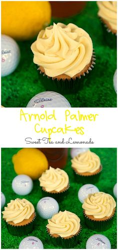 I wonder how these taste?Arnold Palmer Cupcakes Recipe - Iced Tea and Lemonande cupcakes and buttercream. Perfect for watching The Masters. Cupcake Flavors, Cupcake Recipes, Dessert Recipes, Flavored Cupcakes, Top Recipes, Mini Cakes, Cupcake Cakes, Golf Cupcakes, Apple Cupcakes