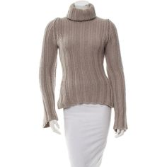 Pre-owned Yves Saint Laurent Cashmere Turtleneck Sweater ($175) ❤ liked on Polyvore featuring tops, sweaters, neutrals, brown sweater, turtle neck sweater, brown turtleneck, cashmere sweater and brown cashmere sweater