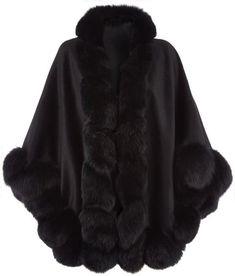 Fur Trimmed Cape, Fur Cape, Cape Coat, Cashmere Fabric, Cashmere Poncho, Cashmere Wool, Mode Hijab, Fur Fashion, Winter Accessories