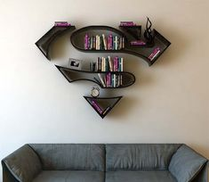 Superman Logo Shaped Concept Bookshelf