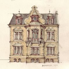 Absolutely love these detailed drawings of buildings, by Flaf