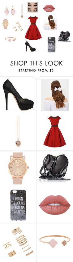 """""""Cas Date"""" by crvertelo on Polyvore featuring moda, Charlotte Olympia, New Look, Thomas Sabo, Rebecca Minkoff, Lime Crime, Forever 21, Michael Kors e Pomellato"""