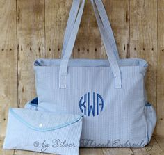Personalized Diaper Bag Blue Seersucker Monogrammed by parsik93