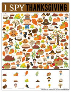 This kids Thanksgiving I Spy Printable Game is such a fun activity for kids during the Thanksgiving season! Spy Games For Kids, I Spy Games, Kids Party Games, Fun Activities For Kids, Halloween Activities, Thanksgiving Activities For Kids, Thanksgiving Crafts, Holiday Crafts, Holiday Fun