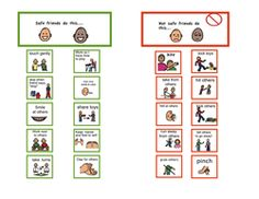 safe and unsafe behaviors visual chart plus lots of other great visual charts!