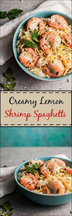 This creamy lemon shrimp spaghetti recipe is easy enough to make on a weeknight…