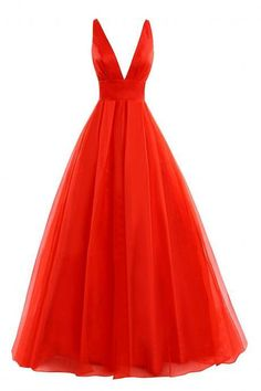 Women's Deep V-Neck Prom Dress with Straps A-Line Tulle and Satin Formal Evening Gowns PD166