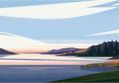 Panorama Cruschiform Landscape Drawings, Landscape Illustration, Watercolor Landscape, Landscape Art, Digital Illustration, Landscape Background, Animation Background, Poster Design, Environment Concept Art