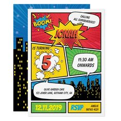 Comic Superhero Birthday Invitation Superman Happy Birthday, Superhero Birthday Party, 1st Boy Birthday, Superhero Gifts, Dinosaur Birthday, Funny Birthday, Superhero Party Invitations, Surprise Birthday Invitations, Custom Invitations