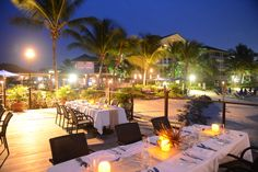 Dining on the Champagne deck at The Landings St. Lucia
