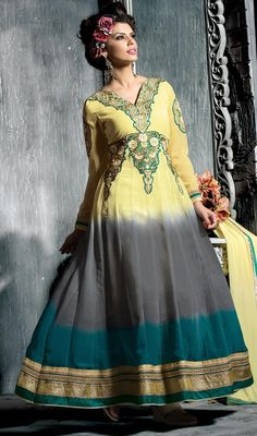 Top craftmanship of embellishments exhibited in this greenish blue, cream and gray georgette Anarkali suit. Beautified with butta, lace, patch and resham work. #ImpressiveCasualAnarkaliSuit