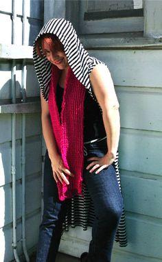 bold pink crochet scarf