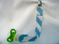 PK Binky Leash in Aqua Chevron  Pacifier Clip  Ready To by PKStuff, $4.75
