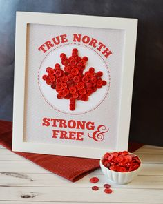 This True North Strong & Free Button Art with Free Printable Template project is the perfect Canada day craft for the whole family. Crafts For Teens To Make, Crafts To Sell, Easy Crafts, Diy And Crafts, Kid Crafts, Happy Birthday Canada, Happy Canada Day, Button Art, Button Crafts